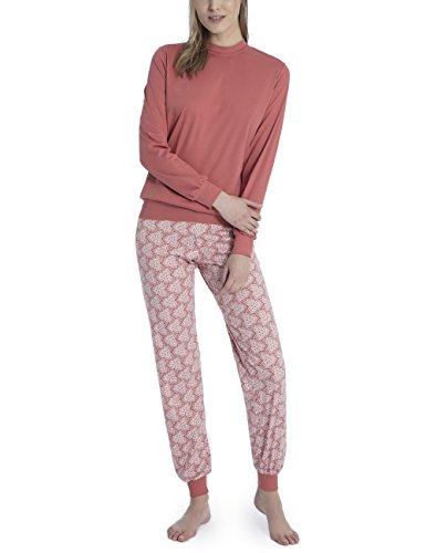 CALIDA Damen Serafine Pyjama mit Bündchen Zweiteiliger Schlafanzug, Mehrfarbig (Dusty Cedar Red 205), Large