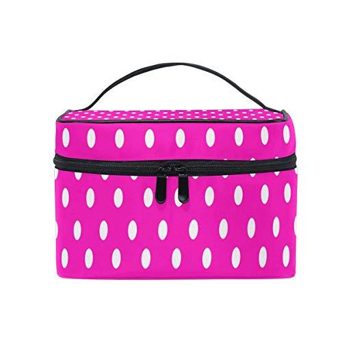 Sac de maquillage à pois blanc rose sac à cosmétiques portable grand sac de toilette pour femmes/filles voyage