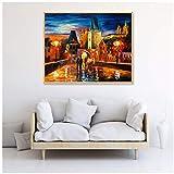 Pintura al óleo de Praga sobre lienzo Paisaje nocturno Decoración de pared Maison Decoración para el hogar Regalo -20x30 IN Sin marco