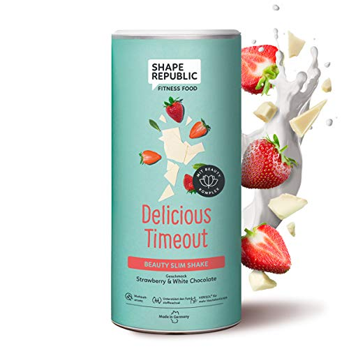 Shape Republic Beauty Slim Shake Strawberry & White Chocolate (420g)   Gewichtsmanagement Shake für Frauen   proteinreicher Diät Shake zum Abnehmen   vollwertiger Mahlzeitenersatz mit 23 Vitaminen