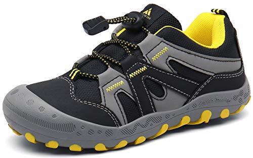 Trekkingschuhe für Kinder Wanderschuhe Jungen Mädchen Mit Schnellverschluss Atmungsaktive Schuhe rutschfest Laufschuhe für Outdoor,Schwarz,29 EU
