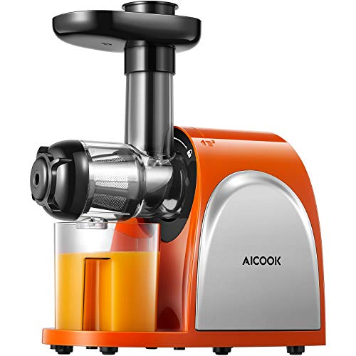 Juicer, Slow Masticating Juicer, Cold Press Juicer Machine Easy to Clean, Higher Juicer Yield and Drier Pulp, Juice Extractor with Quiet Motor and Reverse Function, BPA-Free, with Recipes (Hot Orange)