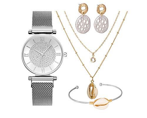 Reloj Set Regalo De Cumpleaños De Cuatro Piezas Regalo De San Valentín para Novias Reloj + Collar + Pulsera + Pendientes Caja de Regalo Blanco