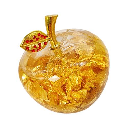 NOLITOY Weihnachtskristall Apfel Figur Papiergewehr Goldene Glas Apfelstatue mit Innengold Blatt Sammlbare Künstliche Apple Holiday Feng Shui Wohnkultur