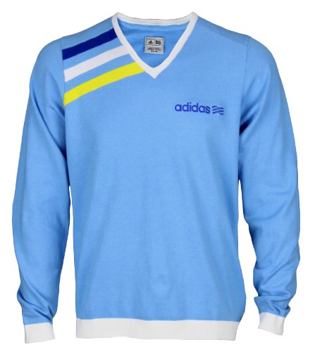 adidas Mens Athletic Long Sleeve V-Neck Pullover Sweater (X-Large, Light Blue)