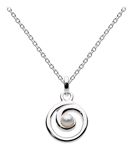 Dew Women's Sterling Silver and Fresh Water Pearl Spiral Necklace of Length 18 inch