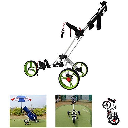 3 Wielen Push Pull Golftrolley Met Verstelbare Handgreephoek, Scorekaart En Voetrem, Kleinste Opvouwbare Lichtgewicht Golf Duwkar