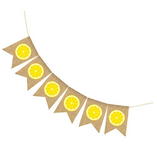 PRETYZOOM Sommer Thema Banner Zitrone Sackleinen Banner Ammer Banner Limonade Girlande für Kinder Geburtstag Babyparty Hawaii Thema Party Dekorationen