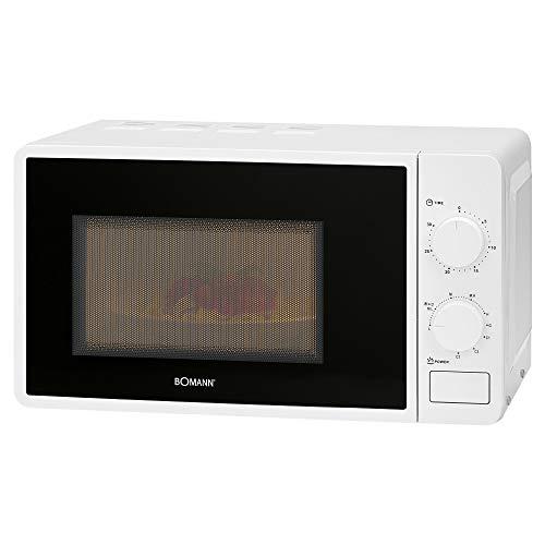 Bomann MWG 6015 CB Mikrowelle mit Grill / 700 W Mikrowellen- + 800 W Grilleistung / 30 Minuten-Timer mit Endsignal / Garraumbeleuchtung / weiß