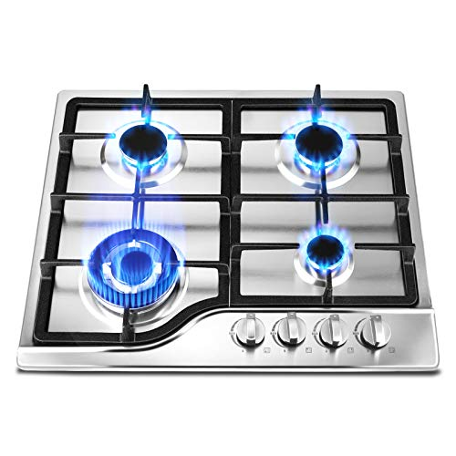 Built-In Gas Cooktop with 4 Sealed Burners,SEAAN Stainless Steel Gas Stove with Pulse Ignition System Gas Stove with Independent Controll Knobs Suitable for Natural Gas LPG Easily Install and Clean