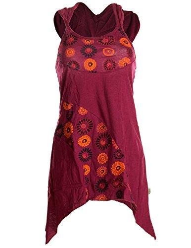 Vishes – Alternative Bekleidung – zipfeliger Neckholder aus Baumwolle mit Zipfelkapuze – mit Blumen Bedruckt und Bestickt dunkelrot 40