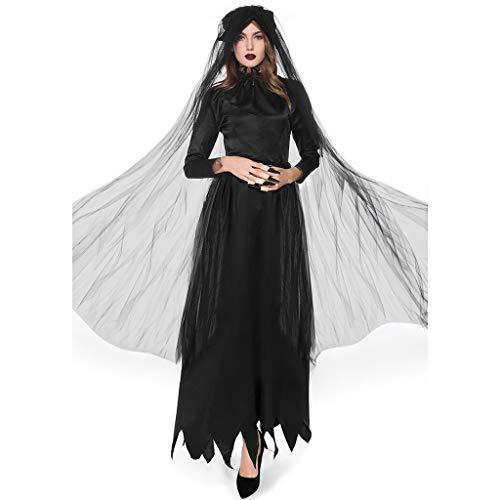 RISTHY Vestidos de Halloween para Mujer Traje de Fiesta de Bruja Mágica Cosplay Vestido Largo