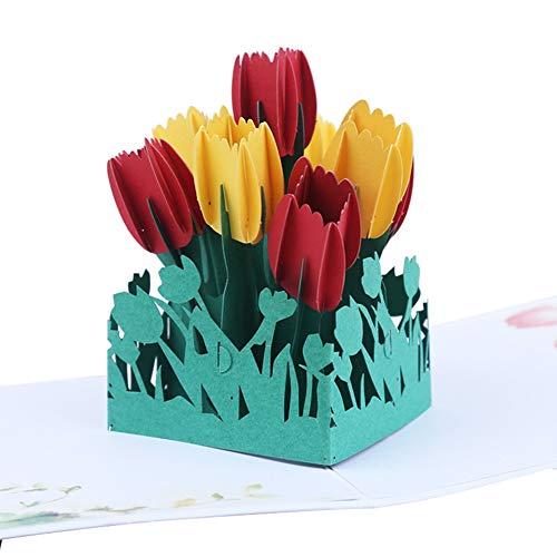 Infgreate -Valentine's Day PresentTulip Flower 3D Pop Up Greeting Card Handmade Birthday Anniversary Postcard