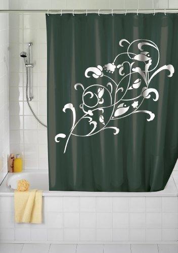 WENKO 19223100 Duschvorhang Ornamento Bianco - waschbar, mit 12 Duschvorhangringen, Kunststoff - Polyester, Schwarz