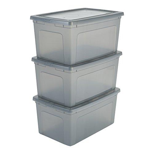 Iris Ohyama 3er-Set, Aufbewahrungsboxen, 50 L, durchsichtig, stapelbar, Wohnzimmer, Schlafzimmer - Modular Clear Box MCB-50 - Grau