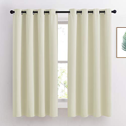 NICETOWN Bedroom Curtains Room Darkening Draperies - Grommet Top Beige Thermal Insulated Energy Saving Privacy Drapes for Apartment/Home Office, 2 Panels, W52 x L63