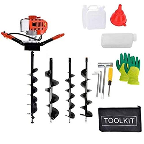 52cc 2.5HP Post Hole Digger Gas Powered Post Hole Digger with 3 Earth Auger Fence Ground Drill Bits 8