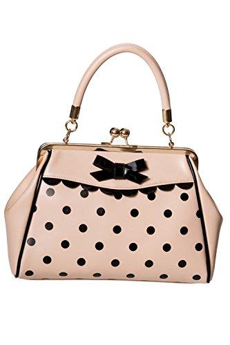 Banned Crazy Little Thing Vintage Bag 50er Jahre Rockabilly Polka Top Henkel Handtasche - Beige