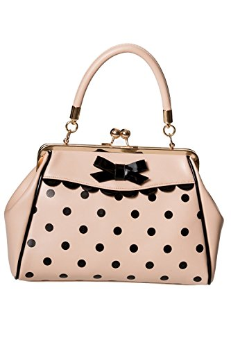 Banned Crazy Little Thing Vintage Bag 50er Jahre Rockabilly Polka Top Henkel Handtasche - Beige