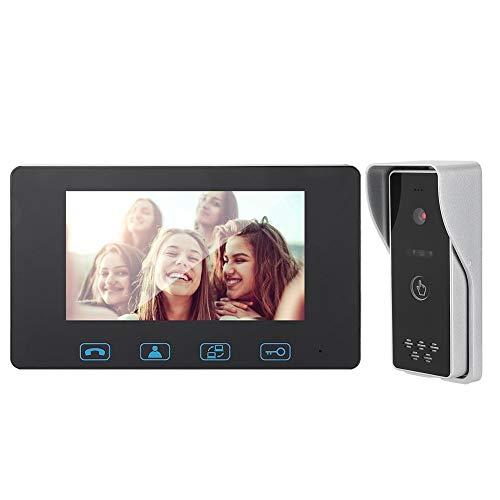 Timbre de video LCD TFT de 7 pulgadas, teléfono de videoportero a prueba de agua de visión nocturna por infrarrojos, kit de timbre de videoportero de seguridad para el hogar(Reino Unido)