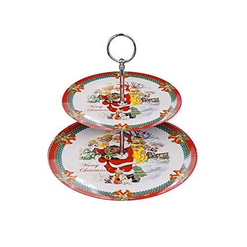 Mazzeo Giocattoli Alzatina Decorativa Natalizia in Ceramica a 2 Piani, 15 x 27 cm