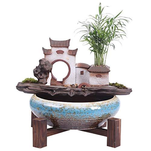 sararui Fuente de Interior Estilo Chino Cerámica Zen Rockery Fuente de Agua Decoración Hogar Sala de Estar Oficina Micro Paisaje Fuente de Cascada Interior