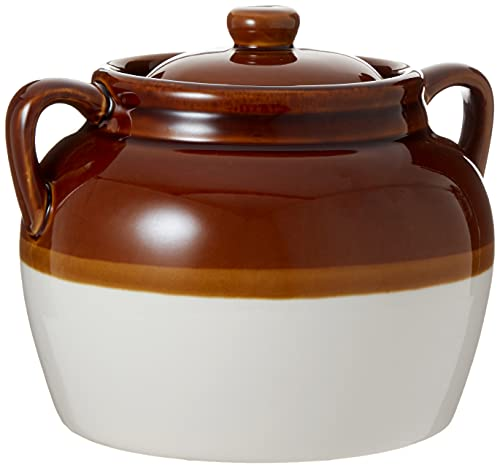 R&M International Traditional Style 4.5-Quart Large Ceramic Bean Pot with Lid, Brown