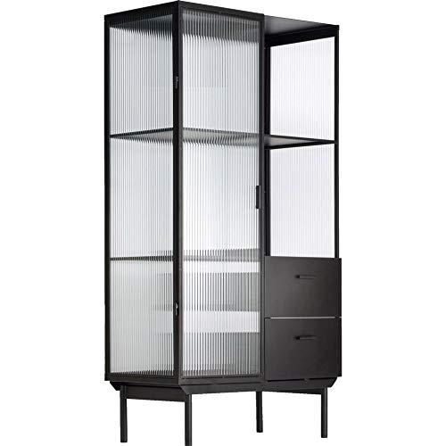 Muebletmoi - Armario vitrina de metal negro y cristal acanalado con 1 puerta y 2 cajones - TOLE 4524