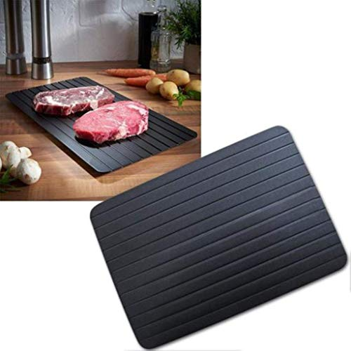 DZT1968 Fast Defrosting Tray - Thawing Plate for Fast Defrosting of Frozen Foods | Premium Quality Kitchen Board | Time-Saving & Eco Friendly for Frozen Meat | Extra Thick Non-Stick Rapid Thawing (L)