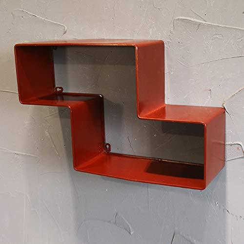 Life Accessories Estantería en forma de Z Estantería de arte de hierro Tetris Estante de pared Retro Celosía creativa Partición Decoración de pared Combinación de montaje en pared 52 * 17 * 33cm