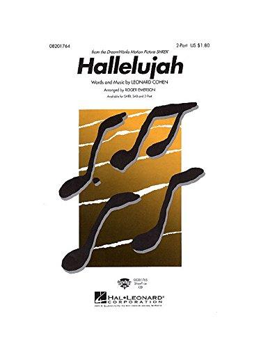 Leonard Cohen: Hallelujah (Shrek) - 2-Part. Partituras para Acompañamiento de Piano, Coro en 2 Partes