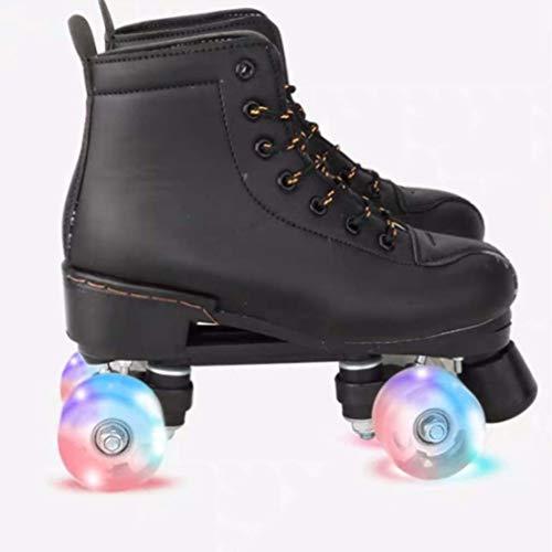 tewun Premium-Leder-Rollschuh für Kinder Erwachsene - Klassische Quad-Skates Verschleißfest für Mädchen und Jungen