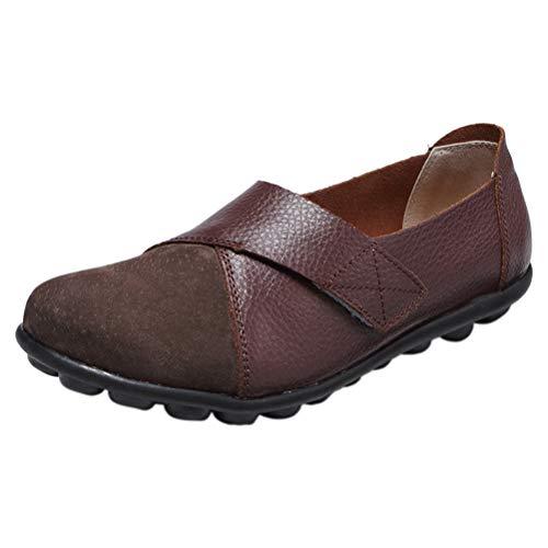 Mallimoda Damen Slipper Leder Patchwork Mokassin Low-Top Schuhe Erbsenschuhe Kaffee 36 EU=37 Asien