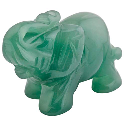 Nupuyai Elefant Figur Edelstein Kristall Glückselefant Heilstein Glücksbringer Elefantenfigur Reiki Fengshui Deko