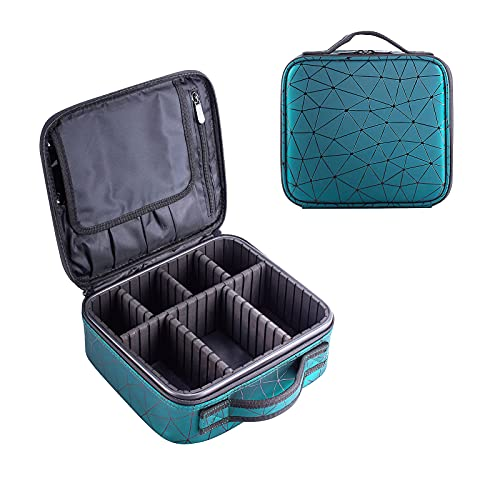 Travel Makeup Train Case Make Up Cosmetic Organizer Bag Makeup Tool Storage with Adjustable Compartments for Women Makeup Brush Toiletry Jewelry Digital Accessories