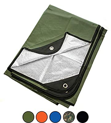 "Arcturus Heavy Duty Survival Blanket – Insulated Thermal Reflective Tarp - 60"" x 82"". All-Weather, Reusable Emergency Blanket for Car or Camping (Olive Green)"