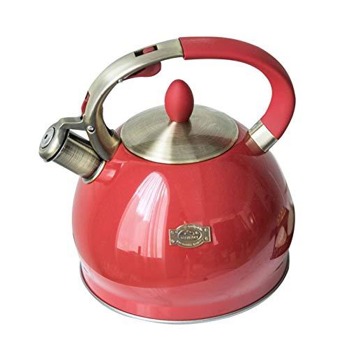 Hervidor Con Silbato Hervidor, Acero Inoxidable De 2,5 L Hervidor Con Silbato Con Mango Resistente Al Calor, Hervidor Adecuado Para Cocinas De Inducción, Estufas De Gas (rojo)