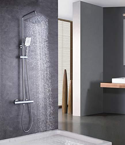 Elbe Duschsystem mit Thermostat, Duschsäule aus Edelstahl, mit großem quadratische Kopfdusche Regendusche, Duschset Duschstange von 79-119cm verstellbar
