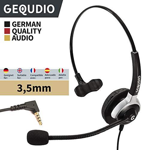 GEQUDIO Headset mit 3,5mm Klinke geeignet für Fritz!Fon C6, MT-F, Snom M-Serie, Yealink-DECT, Handy mit Kabel, 60g leicht
