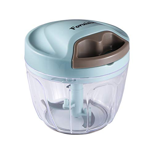 Foruisin Manual Food Chopper, Easy & Powerful Hand Held Vegetable Chopper/Blender to Chop Fruits/Nuts/Herbs/Onions/Garlics for Salsa/Pesto/Coleslaw/Puree (650ML)