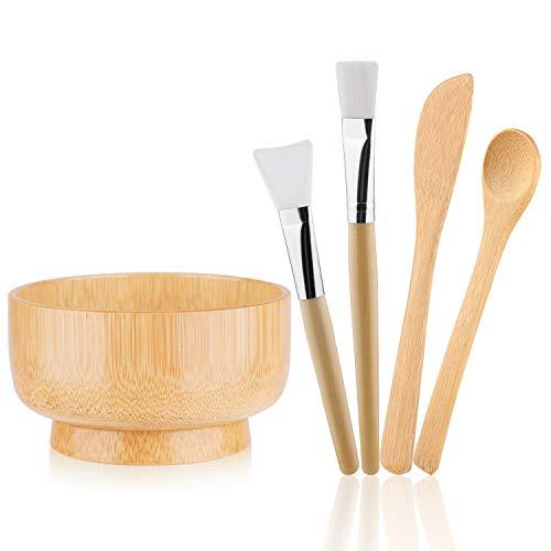 MWOOT DIY Facial Mask Bowl Set, 5-Pack DIY Clay Mask Mixing Kit with Brushes and Bowl, Wooden Mask Mixing Tools for Mixing Clay Mask DIY