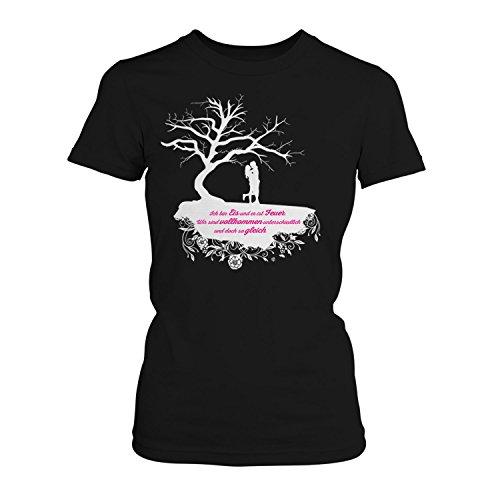 Fashionalarm Ich Bin EIS und er ist Feuer - Baum - Damen T-Shirt Fan Shirt zur After Buchreihe von A. Todd - Passion Truth Love Forever Before us Anna, Farbe:schwarz;Größe:S