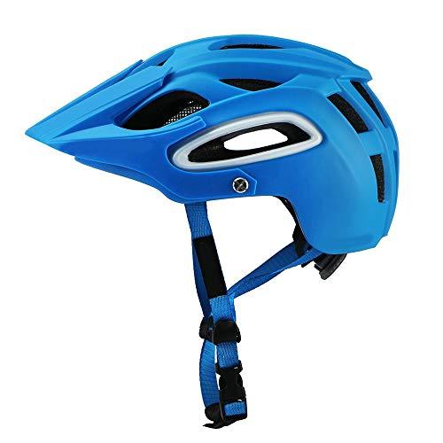 HKRSTSXJ Hombres de la montaña de la Bici y de la Mujer de Casco de equitación de montaña Bosque Todoterreno Profundidad Protección Seguridad Transpirable Casco (Color : Azul)