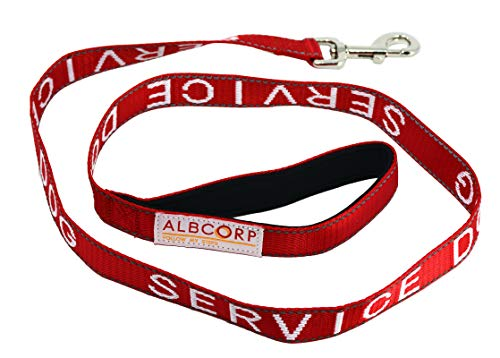 Albcorp Padded Service Dog Leash - with Neoprene Handle - and Reflective Silk-Screen Print for use on Harnesses, Vests, Collars, 4 Foot, Red