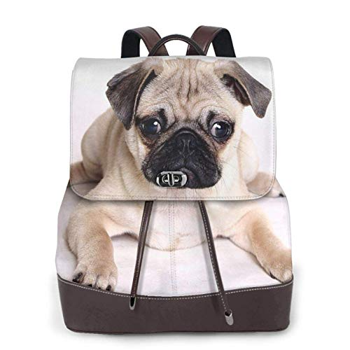 Women'S Leather Backpack,Pug Dogs Print Women'S Leather Backpack