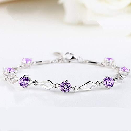 KUANGLANG Pulseras rómbicas, Cristal de Amatista púrpura, Encanto de Plata esterlina, Pulsera de Mujer, Regalo de joyería de Aniversario