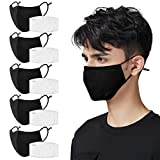 Black Cloth Face Mask 5 Pack with 10 Filters, 3-Ply Machine Washable Reusable Face Mask with Adjustable Earloops for Home Office Work Breathable Mask for Adults Women Men,5 Pack