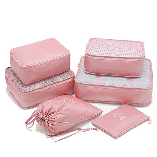 トラベルポーチ 6点セット アレンジケース パッキング 旅行用 出張 便利グッズ 軽量 防水 大容量 セット衣類個・下着・小物入れ・洗面用具・シューズ用(ピンク)