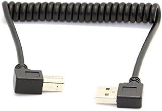 System S USB A 90° Grad Links gewinkelt zu USB Typ B 90° rechts gewinkelt Spiralkabel Kabel 35 80 cm