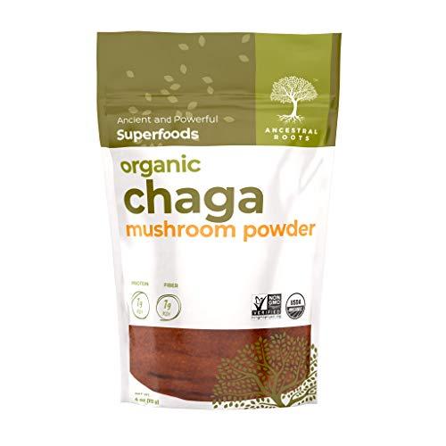 Ancestral Roots Organic Chaga Mushroom Powder - 100% Pure, USDA Certified Organic Chaga Mushroom Powder – 4oz